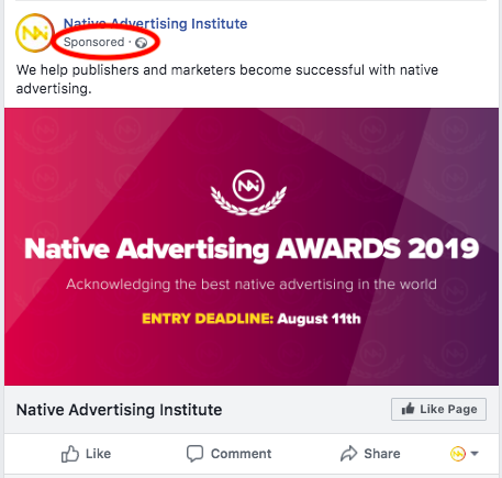 Facebook sponsored post for the Native Advertising Institute's Native Advertising Awards