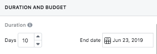 Set the duration and budget for your Facebook sponsored post
