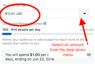 Setting the budget on you Facebook sponsored post