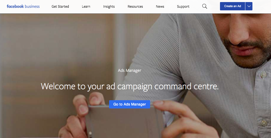 A screen Shot of Facebook business Ads Manager