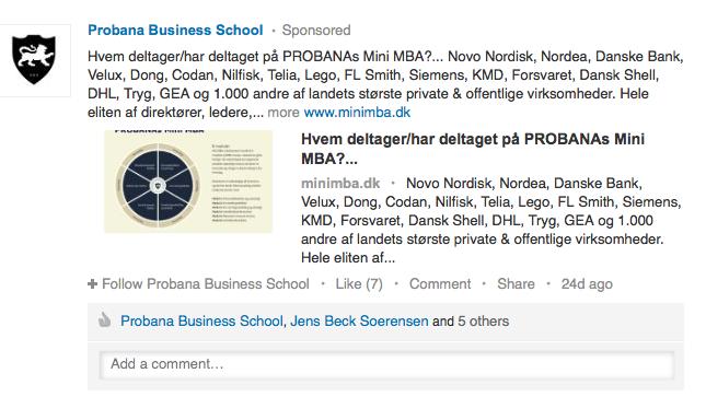 A sponsored update on LinkedIn