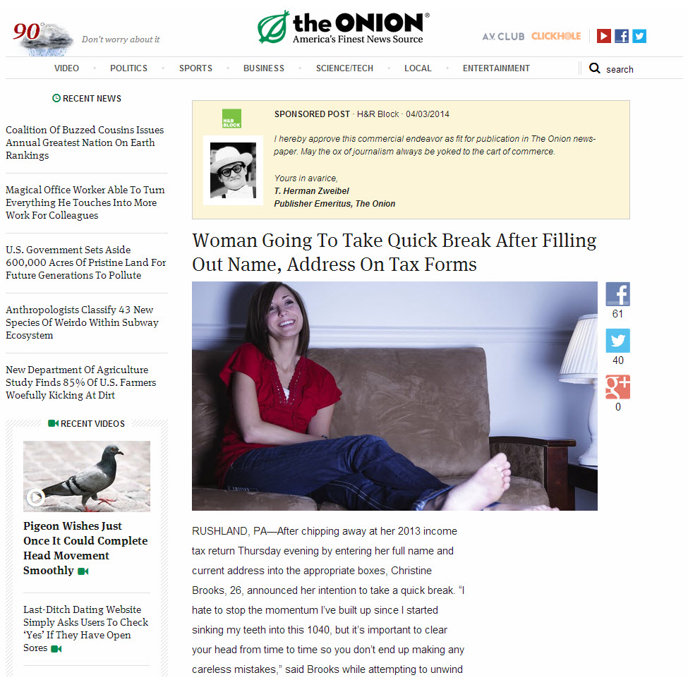 A The Onion sponsores article