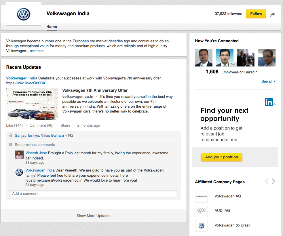 VW India LinkedIn sponsored ad