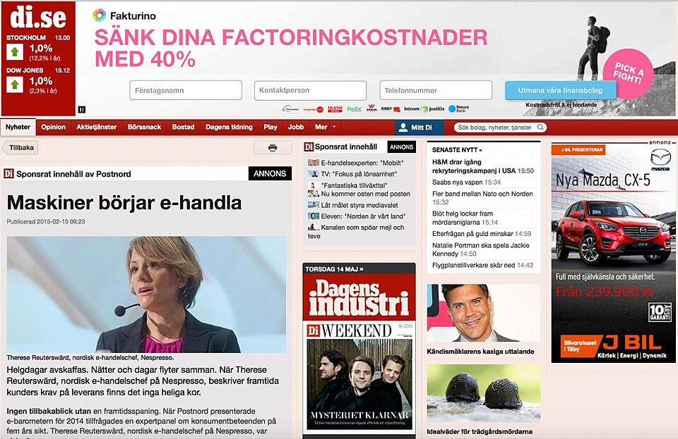 PostNord campaign Dagens Industri