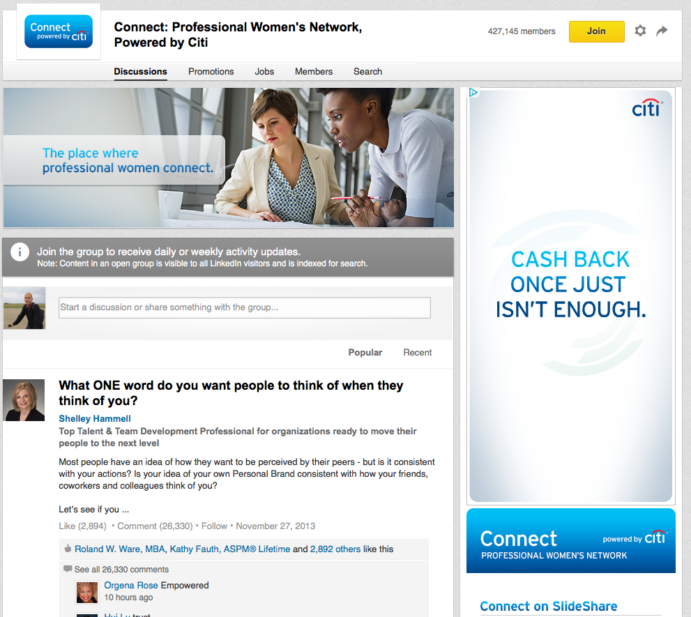 linkedin group citi sponsored ad